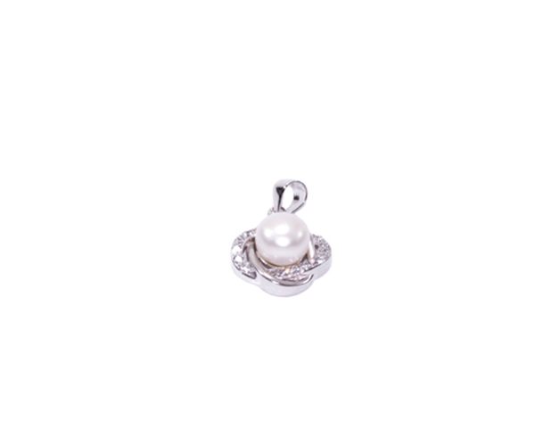 Earring pendant set white cz and pearl rhodium plating b rio jewelry aloadofball Gallery